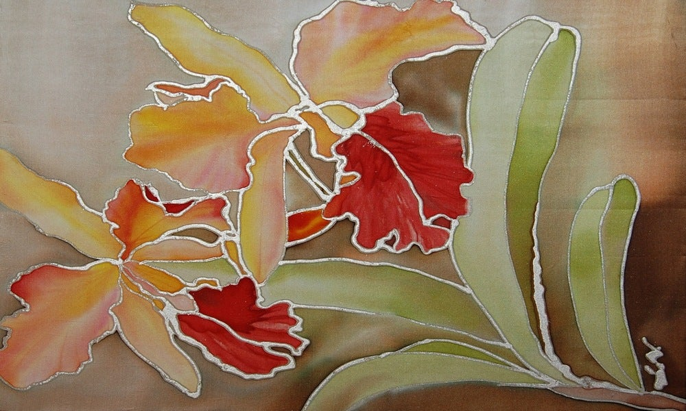 Image of Sunshine Orchids Portrait - Handpainted Silk