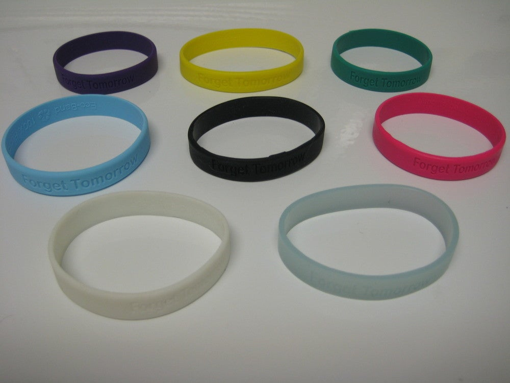 "Image of ""Forget Tomorrow"" Colored Wristbands - $2"