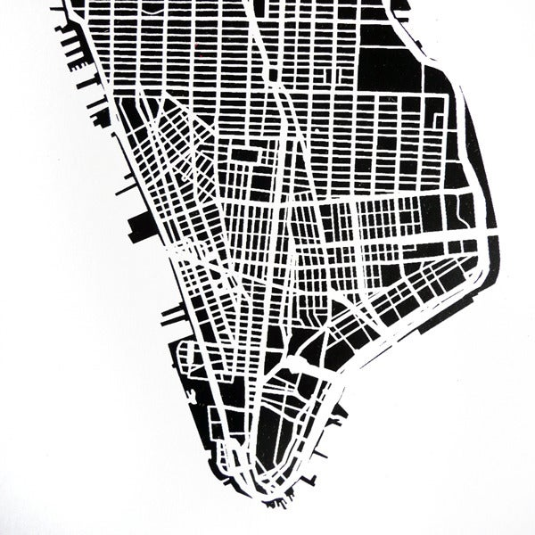 The Harbinger Co. — Black Silk-Screen Printed Map of NYC
