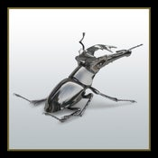 Image of Foxed Chrome Plated Stag Beetle Sculpture