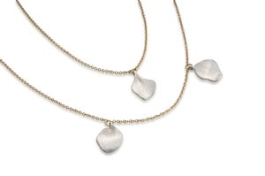 Image of petals double-chain necklace in silver and gold