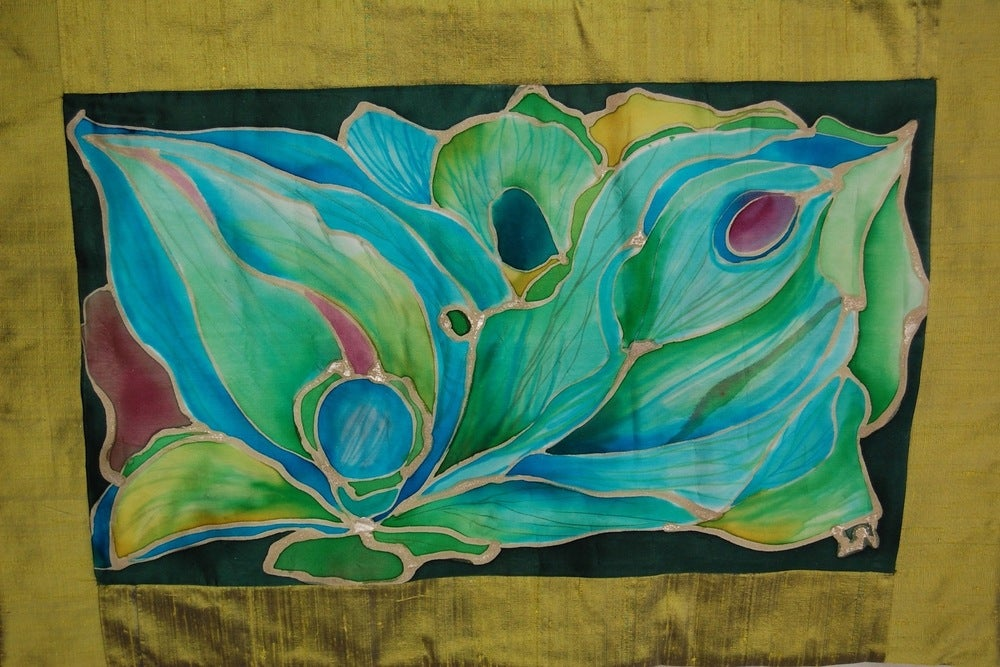 Image of Evolution Meditation Cushion - Handpainted Silk