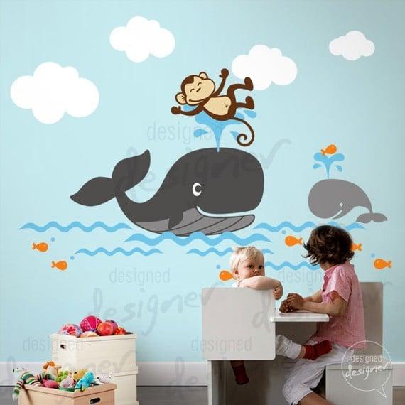 Whale Theme Nursery Wall Decal Dd1054 Kids Vinyl Wall