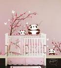 Wall Decal Sticker Pandas Having Fun in Cherry Blossom Field - dd1029