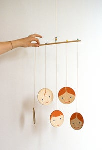 Image of Hand-painted Little Edie Ginger Family Wooden Mobile