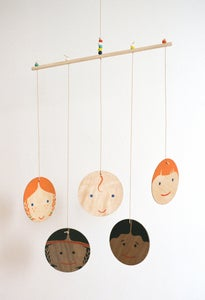 Image of Hand-painted Little Edie Multi-Cultural Family Wooden Mobile