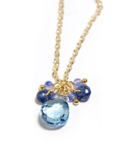 Image of Blue Topaz and Sapphire drop Necklace