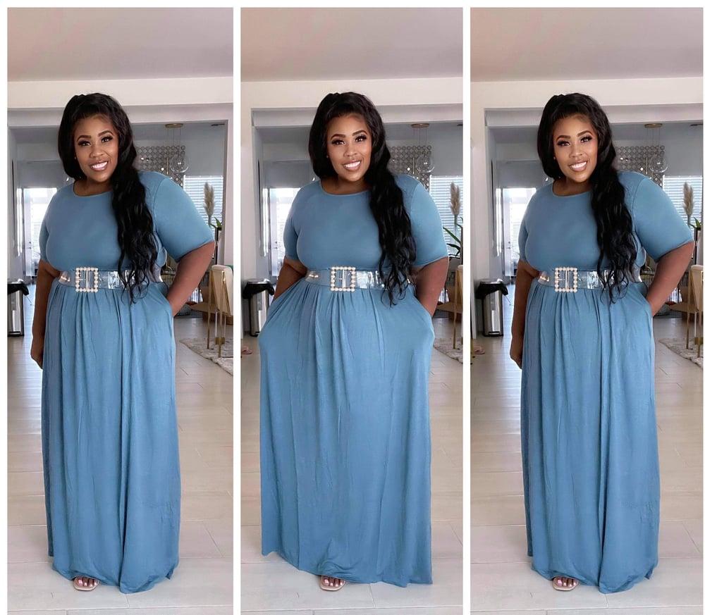 Image of #1204 SPRING BLUE PLUS SIZE VISCOSE HALF SLEEVE MAXI DRESS