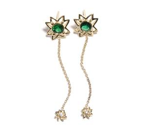 Image of Emerald Flower Earrings