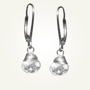 Image of Candy Drop Earrings with White Topaz, Sterling Silver