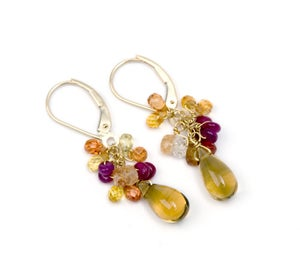 Image of Citrine Cluster Earrings
