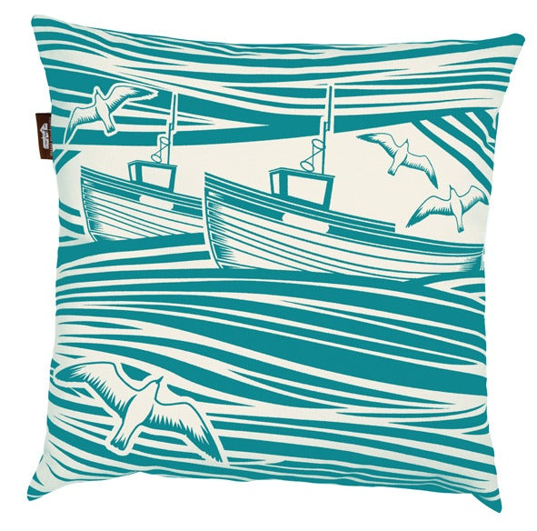 Image of Whitby Canvas Cushion - Turquoise