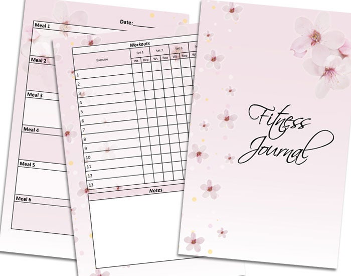 photograph about Printable Workout Journals referred to as Cherry Blossom Printable Health Magazine
