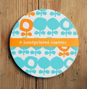 Image of Screen printed coasters orange and blue