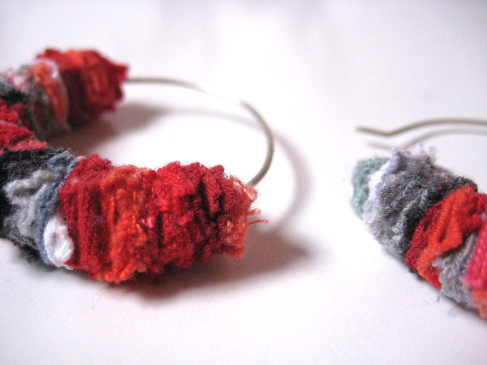 Image of Recycled T-shirt scraps :::SMALL earring hoops