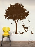 Little Boy Swinging under Tree on Tyre Swing - Kids Vinyl Wall Sticker Decal Art