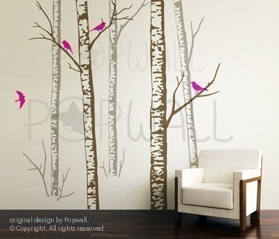 Vinyl Wall Sticker Decal Art Birch Forest Trees 5