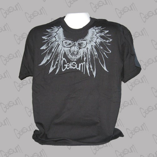 Image of BLACK SKULL FEATHERS SHIRT
