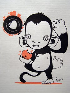 Image of Monkey loves Oranges - Gocco Print