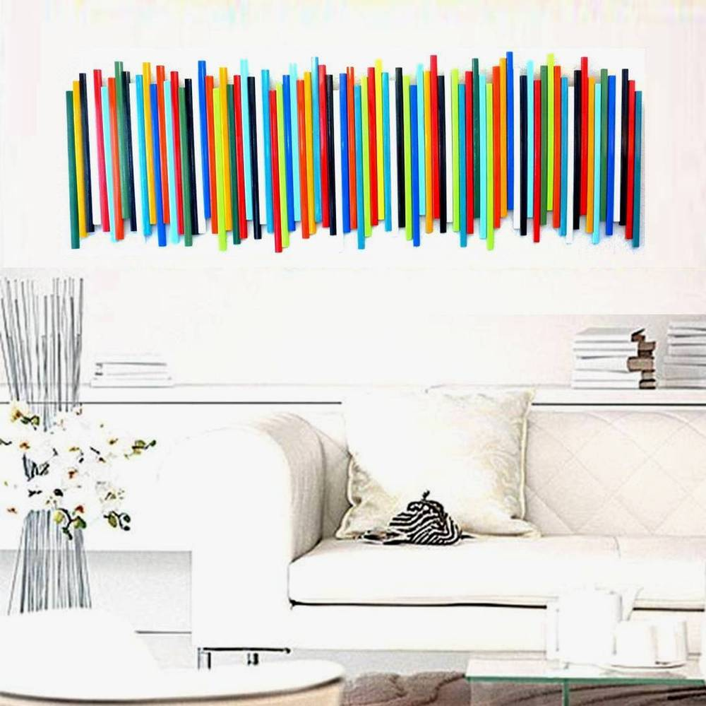 Image of 'STICKS IN MULTICOLOR NO19' | Wood Stick Wall Sculpture | Colorful Art | Wood Wall Decor