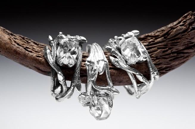 Image of Dark Elvish Rings<br>Silver Stacking Pair