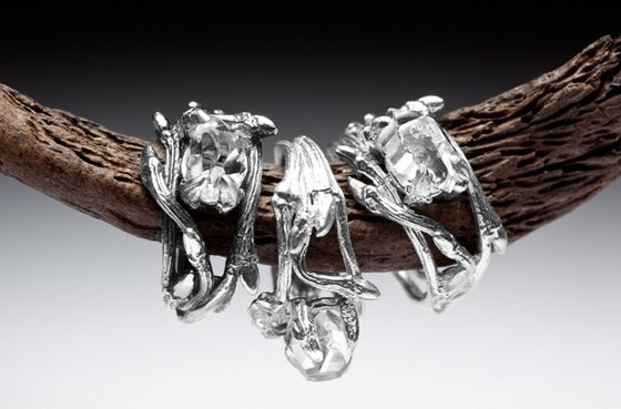 Image of Dark Elvish Ring<br>Herkimer Diamond