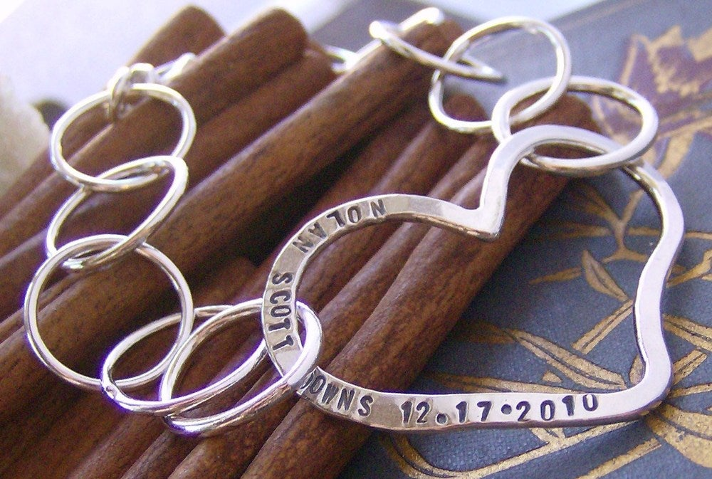 Image of Open Hert Bracelet hand stamped sterling silver name inspirational bracelet