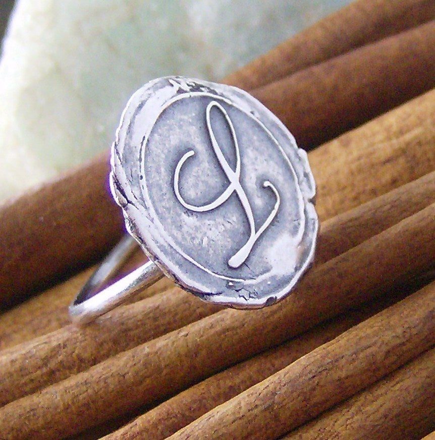 Image of Vintage letters wax seal style ring