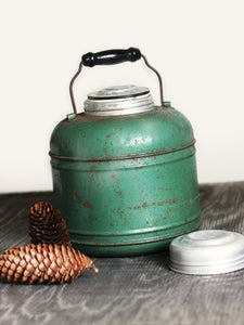 Image of Vintage Green Thermos Jug with Wooden Handle