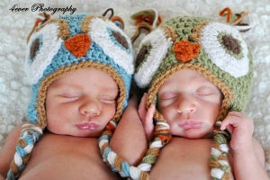 Image of TWO 0-3 Month Cut Cuddly Owl Hats Twins Listing