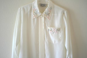 Image of Sheer Cream Beaded Blouse