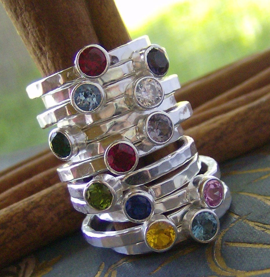 Personalized Gem Stone Stacking Rings Cinnamon Sticks