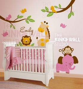 Image of Removable Wall Decal Giraffe, Monkey, Elephant, Lion  KK113