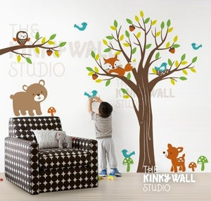 Image of Full Tree with Branch Forest Friends Bear - vinyl wall sticker decal - KK123 - Children Baby Kid nur
