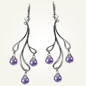 Image of Hama Rikyu Earrings with Amethyst, Sterling Silver