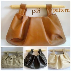 Image of Pleated Clutch bag with Wood Handles-pdf tutorial