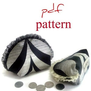 Image of pdf pattern -zippered coin purse in 2 sizes semi circular & ruffled