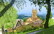 Image of Malvern from the rose garden, morning, late spring