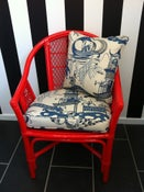 Image of Red Cane Chair with Sanderson Pagoda River Cushions