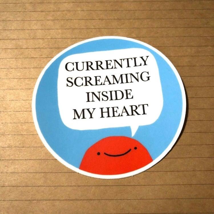 Image of FUNDRAISER screaming inside my heart sticker