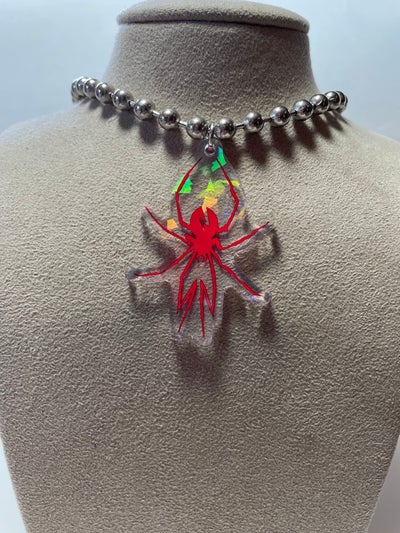 Image of Red Variant Black Widow Ball Chain Necklace