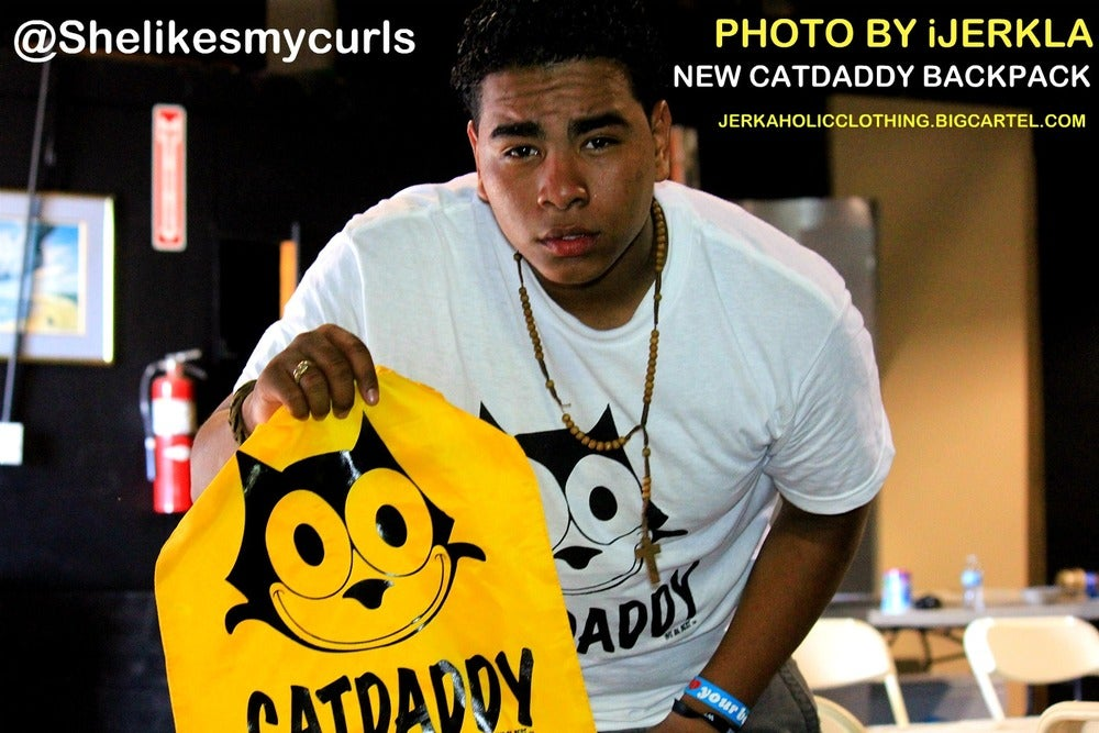 Image of bLACK AND yELLOW CATDADDY BACK PACK