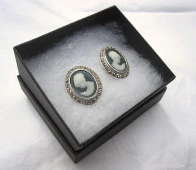 Image of Sterling Silver Cameo Stud Earrings