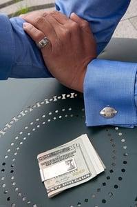 Image of Zulu shield sterling silver cufflink with brass bullet backs