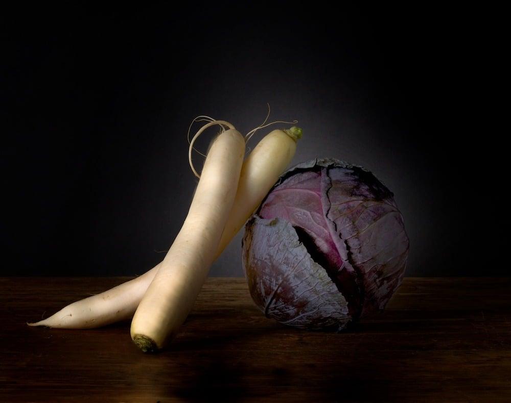Image of Daikon radishes, Red cabbage