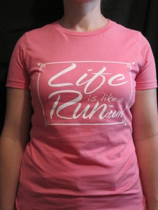 Image of Women's Pink Fitted T with White Logo
