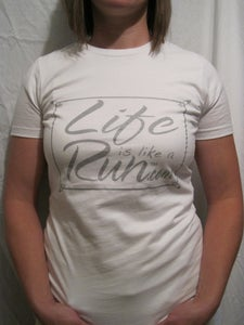 Image of Women's White Fitted T with Metallic Silver Logo