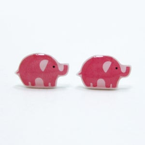 Image of Pink Elephant Earrings - Sterling Silver Posts