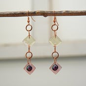 Image of Purple/silver dichroic glass earrings