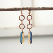 Image of Salmon/balck/teal dichroic glass earrings